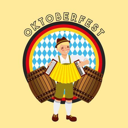 Oktoberfest, celebración alemana, pegatina, bandera de Alemania, niño, juego, acordeón, barriles, vector, ilustración Ilustración de vector