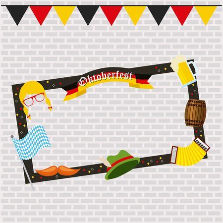 oktoberfest german celebration pennants frame barrel accordion flag mask moustache vector illustration
