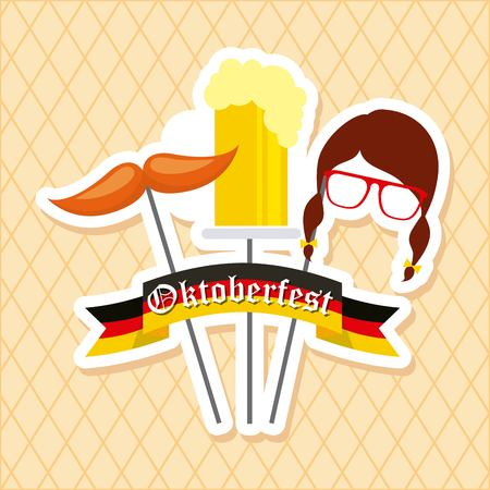 oktoberfest german celebration mask germany flag moustache beer vector illustration