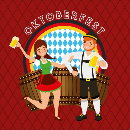 oktoberfest german celebration festival couple dancing holding beers barrels drinks vector illustration