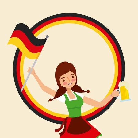 oktoberfest german celebration sticker color girl holding germany flag beer vector illustration