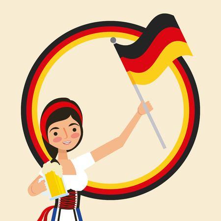oktoberfest german celebration cute girl holding beer flag vector illustration