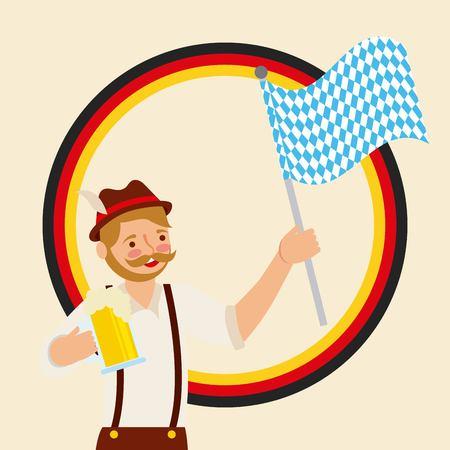 oktoberfest german celebration sticker boy using hat holding flag and beer vector illustration