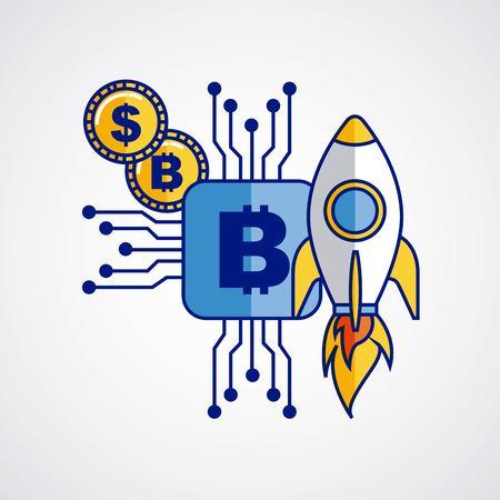 Rakete Bitcoin Kryptowährung Geld Fintech-Vektor-Illustration