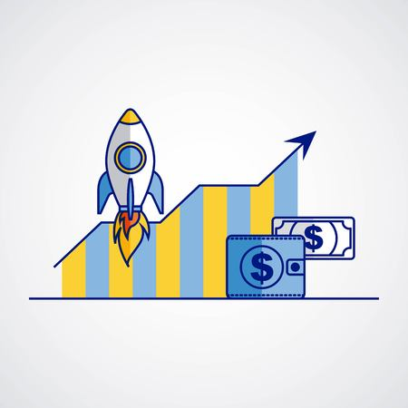 business rocket wallet money report chart fintech vector illustration Ilustração