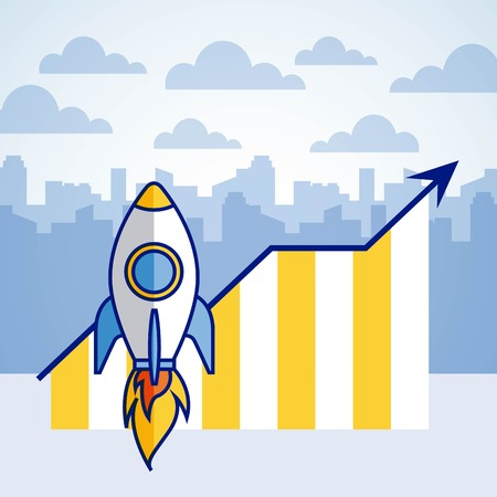 rocket startup statistics report fintech vector illustration Çizim