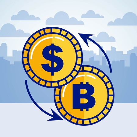 dollar bitcoin exchange business fintech vector illustration