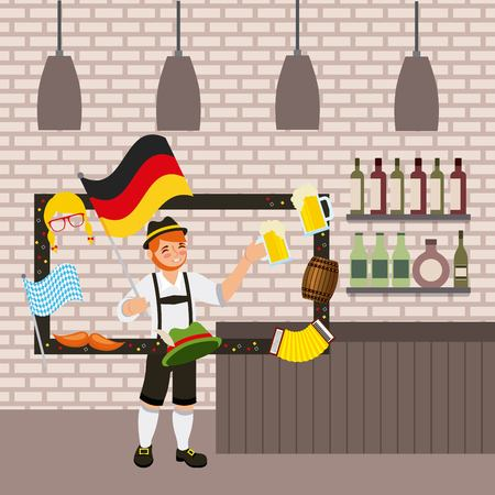 oktoberfest german celebration tavern frame photos boy holding beers vector illustration  イラスト・ベクター素材