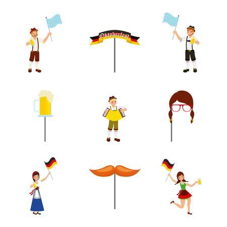 oktoberfest german celebration moustache mask beer girl boys holding flags vector illustration Stock Illustratie