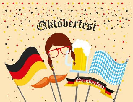 oktoberfest german celebration stickers mask confetti vector illustration