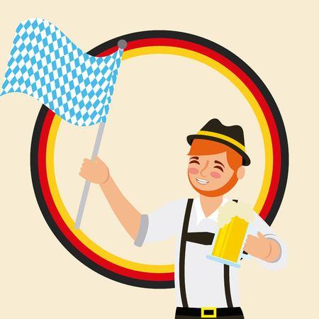 oktoberfest german celebration sticker bread man holding flag vector illustration