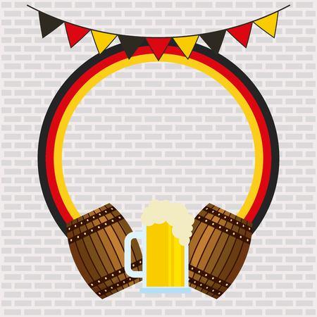 oktoberfest german celebration barrels beer pennants sticker colors vector illustration Standard-Bild - 110086206