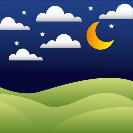 mountains night with stars moon clouds vector illustration