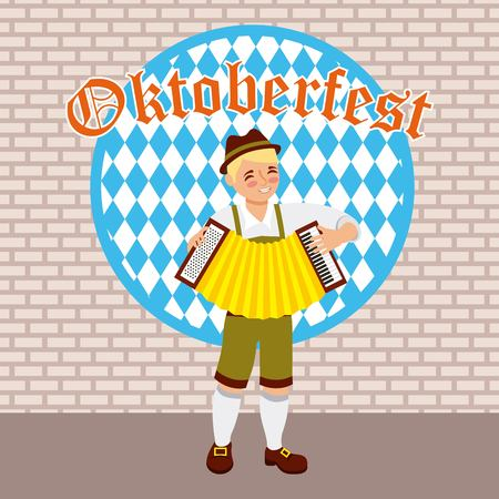 oktoberfest celebration boy playing accordion music vector illustration