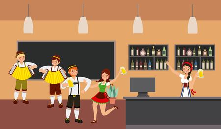 oktoberfest celebration tavern celebrate beers accordions vector illustration