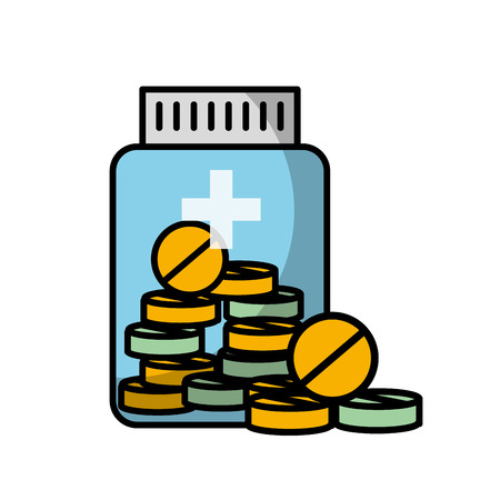 medicine bottle pills treatment prescription vector illustration Illustration