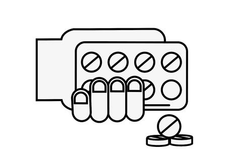 hand holding pills blister pack treatment vector illustration thin line Illustration