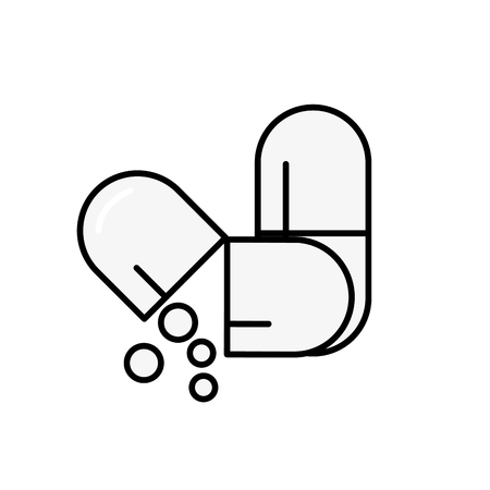 open capsule pill pouring balls medicine vector illustration thin line Illusztráció