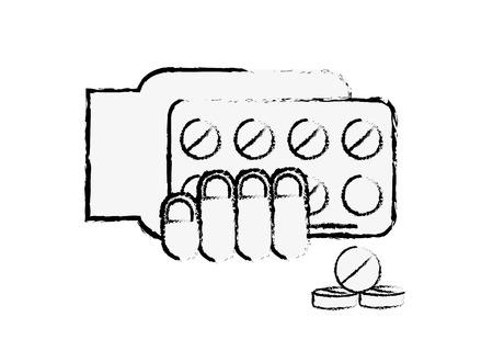 hand holding pills blister pack treatment vector illustration