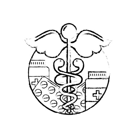 caduceus healthcare medicine pharmacy symbol vector illustration