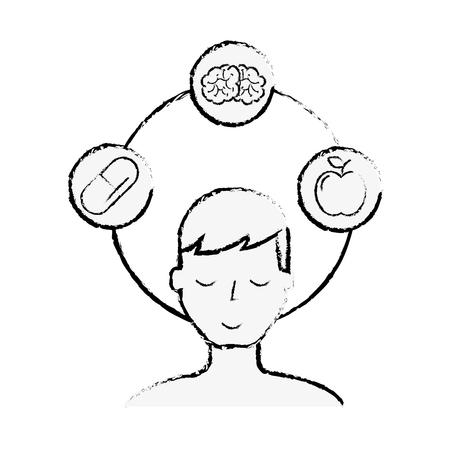 patient man brain apple and medication vector illustration