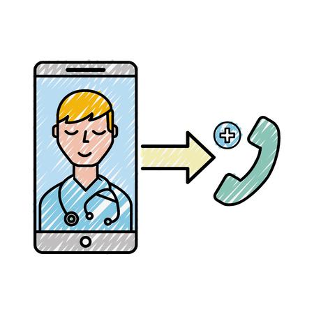 smartphone doctor service telephone online vector illustration