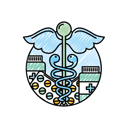caduceus healthcare medicine pharmacy symbol vector illustration