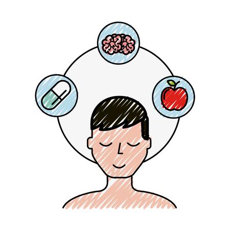 patient man brain apple and medication  vector illustration Illustration