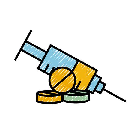 medical syringe pills pharmacy medicine vector illustration Ilustrace