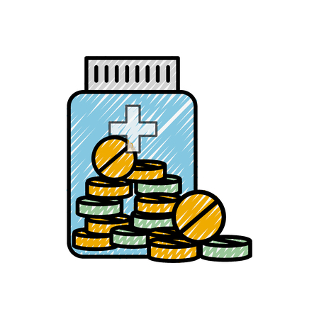 medicine bottle pills treatment prescription vector illustration