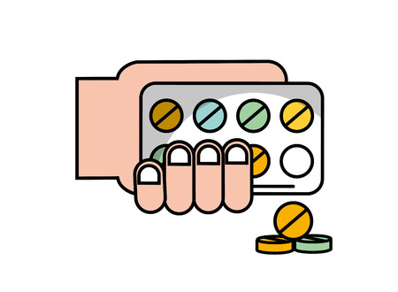 hand holding pills blister pack treatment vector illustration