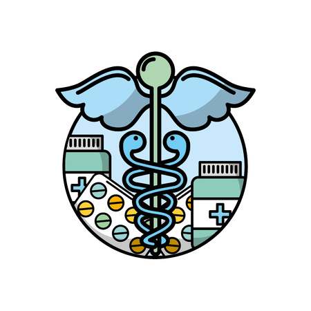 caduceus healthcare medicine pharmacy symbol vector illustration Stock fotó - 110032088