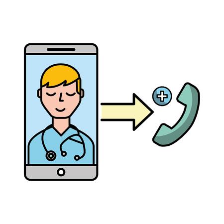smartphone doctor service telephone online vector illustration Banque d'images - 110032089