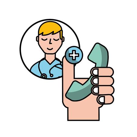 hand holding telephone medical doctor helpline vector illustration Banque d'images - 110032091
