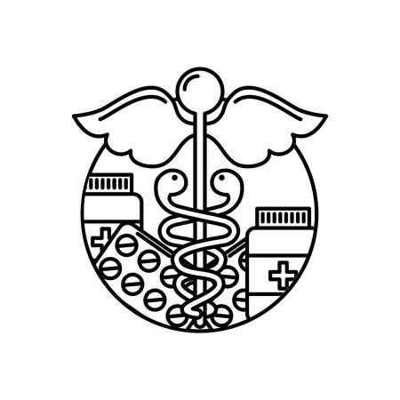 caduceus healthcare medicine pharmacy symbol vector illustration thin line