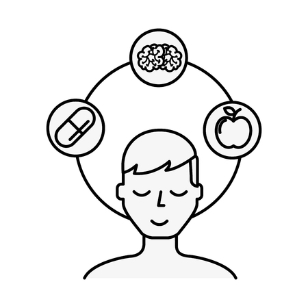 patient man brain apple and medication vector illustration thin line Vector Illustration