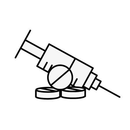 medical syringe pills pharmacy medicine vector illustration thin line Иллюстрация