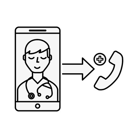 smartphone doctor service telephone online vector illustration thin line Banque d'images - 110032093