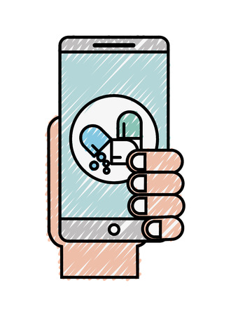 hand with smartphone medicament pharmacy vector illustration