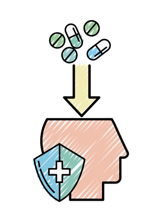 profile head mental medication protection vector illustration Illustration