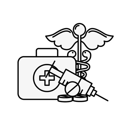 medical suitcase first aid syringe and caduceus vector illustration thin line