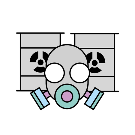 respirator protective mask and hazard barrels vector illustration 向量圖像