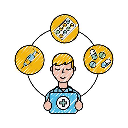 medical doctor staff kit first aid syringe pills vector illustration