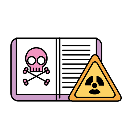 biology book poison danger hazard sign vector illustration