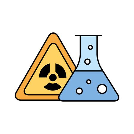 Ilustración de vector de química de tubo de ensayo de peligro de radiación
