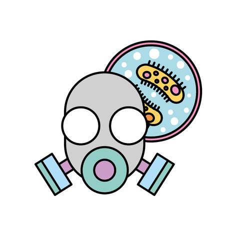respirator mask virus infection danger chemistry laboratory vector illustration  イラスト・ベクター素材