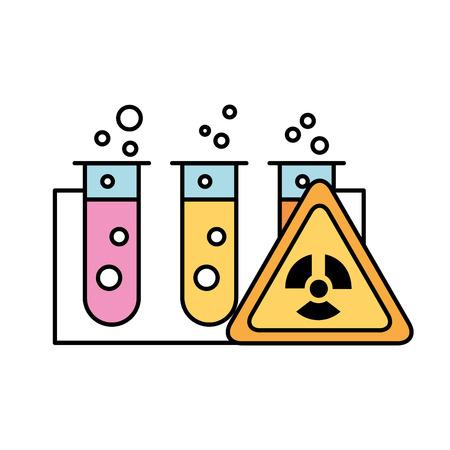 test tubes laboratory hazard analysis vector illustration Çizim