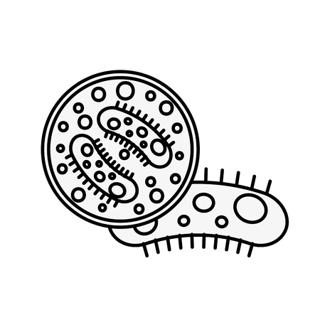 virology germ bacteria petri dish science vector illustration thin line Illustration