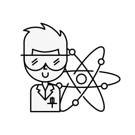 scientific professor character molecule atom vector illustration thin line  イラスト・ベクター素材