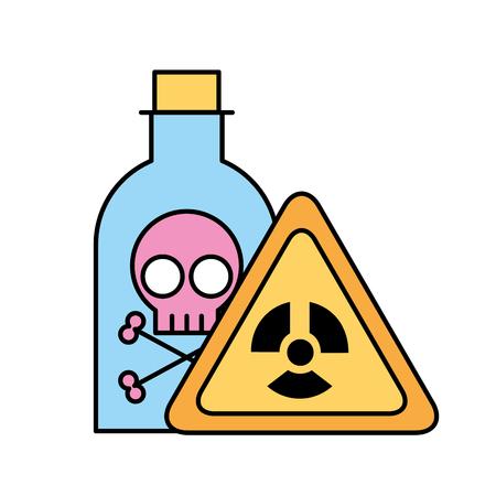 Botella de laboratorio de veneno junta de peligro laboratorio de química ilustración vectorial